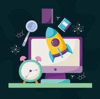 educación escolar en línea idea de reloj despertador digital vector