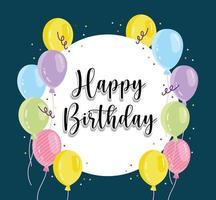 Birthday balloons confetti vector