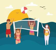 summer people playing vector