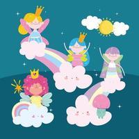 fairies rainbows cute vector