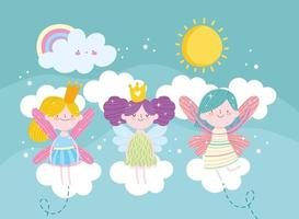 fairies clouds playing vector