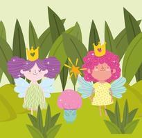 fairies cute magical vector