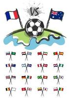 Football on the world with set of national soccer team flags for edit this image . Sport match concept . Watercolor art child painting flat design . Vector for international tournament cup 2018 .