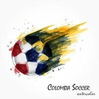 Realistic watercolor painting of powerful Colombia national football team or soccer shot . Artistic and sport concept . Vector for international world championship tournament cup 2018 . Flat design .