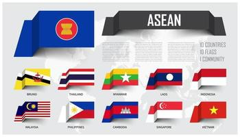 asean. Asociación de Naciones del Sureste Asiático . y membresía. diseño de banderas de papel flotante. fondo del mapa del mundo. vector. vector