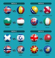 European soccer play-off draw set vector