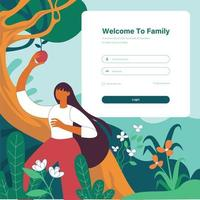 Young girl pickup fruit from tree vector illustration concept  login page design template