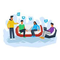 Friend making discussion together illustration concept vector