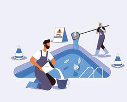 Pool cleaning concept illustration vector