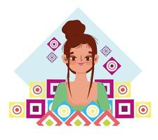cute woman with bun hair cartoon abstract shapes background vector