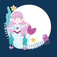 Mermaid jellyfish starfishes seaweed cartoon vector