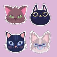 set cats heads cartoon feline animals stickers pets vector