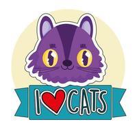 I love cats, cute cat face feline cartoon sticker vector