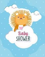 Baby shower, cute lion clouds celebration, welcome newborn card vector