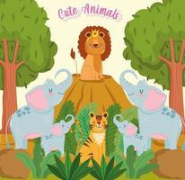 Cute animals jungle vector