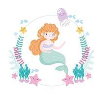 sirena con linda estrella de mar medusas algas y dibujos animados de peces vector