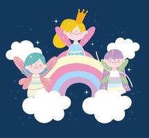 cute fairy rainbows vector