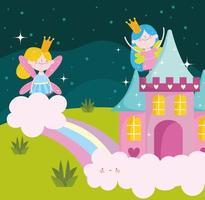 fairies rainbow castle vector