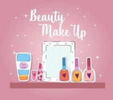 beauty makeup nail polish lipstick mirror and body lotion vector