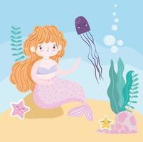 sirena sentada sobre una roca con dibujos animados de algas jellyfih vector