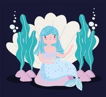 sirena pelo azul dibujos animados concha piedras y algas vector