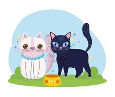 cartoon cats animals feline with food in the grass vector