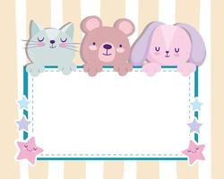 Baby shower adorable bear rabbit and cat invitation card vector