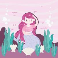 sirena conchas marinas algas fondo océano dibujos animados vector
