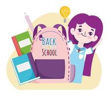 Back to School student girl with rucksack books and pencil cartoon vector