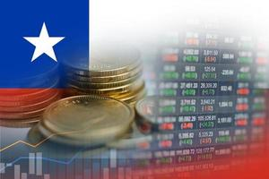 Stock market investment trading financial, coin and Chile flag or Forex for analyze profit finance business trend data background. photo