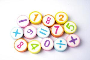Número de matemáticas de colores de fondo, estudio de educación aprendizaje de matemáticas enseñar concepto foto
