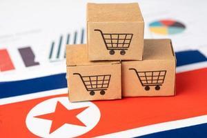 Shopping cart box on North Korea flag, online export concept. photo