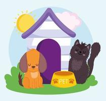 cute dog and cat with wooden house food pets vector