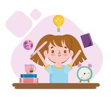 Regreso a la escuela chica estudiante divertida con libros reloj despertador y taza de té vector