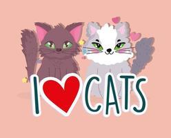 I love cats, cute animals pet feline cartoon vector