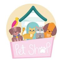pet shop placard with dog cat bird and hamster vector
