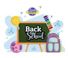 regreso a la escuela pizarra mochila paleta color dibujos animados vector