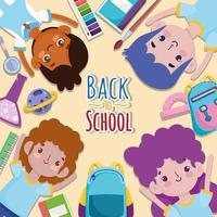 Back to School group students cartoon stationery supplies education vector