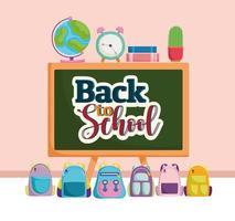 Back to School blackboard map clock book and backpacks vector