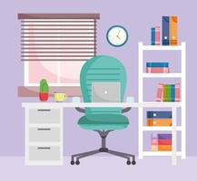 Oficina en casa interior sillón escritorio portátil estantería de madera con libros vector