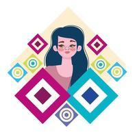 beautiful woman cartoon with green eyes character vector