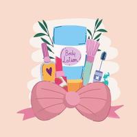 beauty makeup body lotion mascara brush nail polish and bow vector