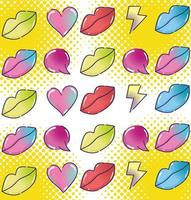 pop art halftone style female lips speech bubbles and rays background vector