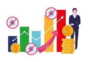 Reopening businessman money grown and profit economy vector