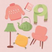 set icons lamp teapot sweater chair scarf, cartoon hygge style vector