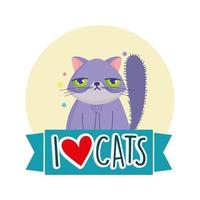 I love cats, grumpy cat pet feline cartoon vector
