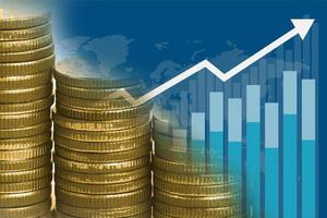 Saving stack coins money with Charts and Graphs. Finance, Account, Statistics, Analytic research data economy, Stock exchange trading and Business concept photo