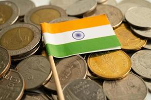 Stack of coins with India flag on white background. flag on white background. photo