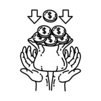 Fund Icon. Doodle Hand Drawn or Outline Icon Style vector