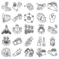 vector de icono de conjunto de finanzas. Doodle dibujado a mano o estilo de icono de contorno